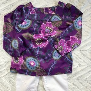 GAP Shirts & Tops - GAP Purple Print Silken Blouse Sz 3T